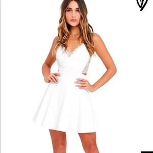 LuLu's White Lace Skater Dress